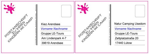 Anschrift Camps LE-Tours