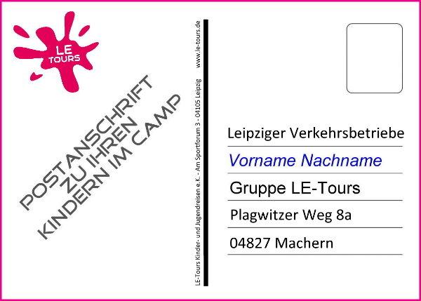 Anschrift-Postkarte_Anschrift_LE-Tours_Ferienlager Machern_Postanschrift