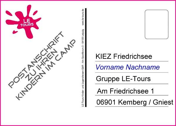 Anschrift-Postkarte_Ferienlager Friedrichsee_LE-Tours