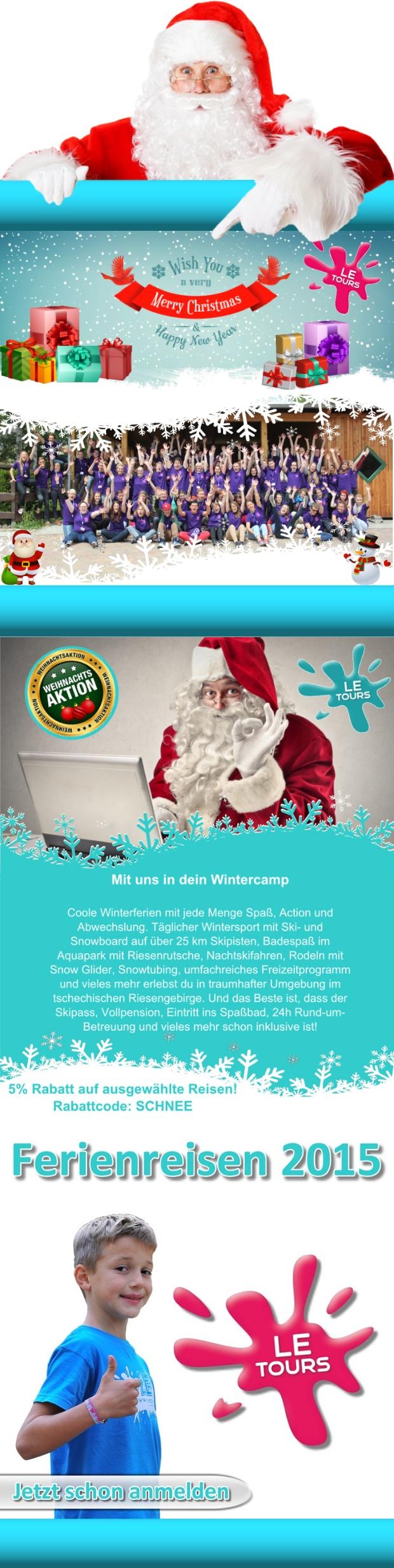 LE-Tours wünscht allen Kindern eine frohe Weihnachtszeit sowie ein gesundes neues Jahr 2015 - www.le-tours.de